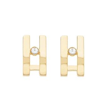 .02ct tw Diamond Huggie Earrings in 14K Yellow Gold