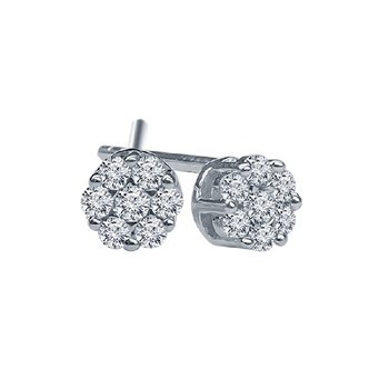 1/8ct tw Diamond Bouquet Earrings in 14K White Gold