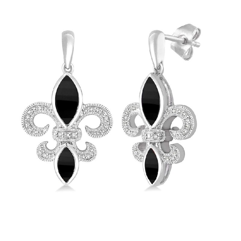 .05ct tw Diamond & Black Onyx Fleur de Lis Earrings in Sterling Silver