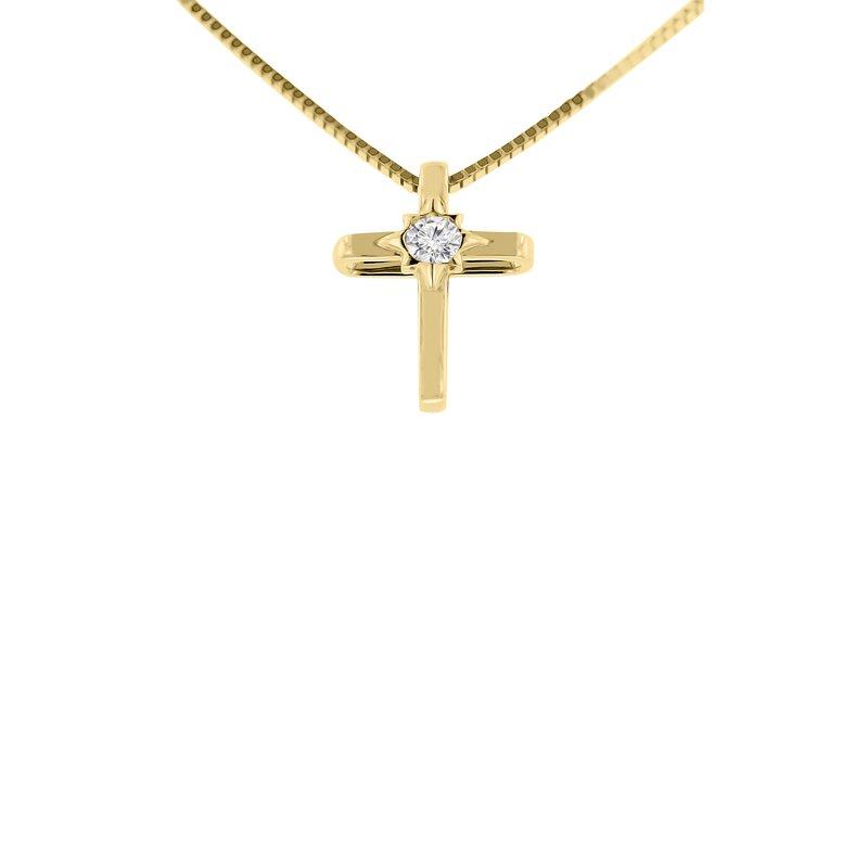 .06ct tw Diamond Cross Necklace in 14K Yellow Gold