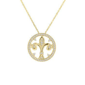 3/8ct tw Diamond Fleur De Lis Necklace in 14K Yellow Gold