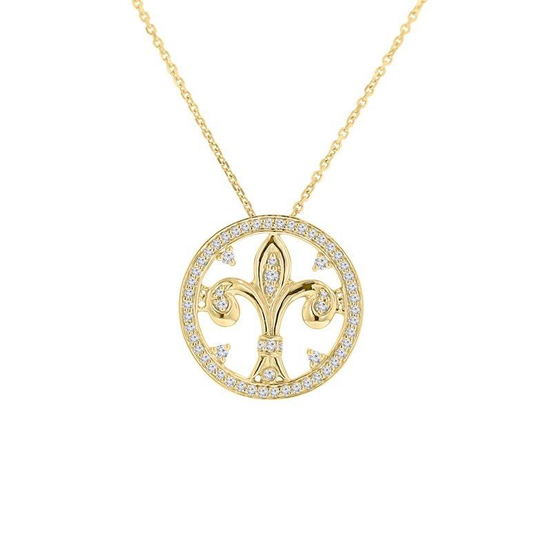 3/8ct tw Diamond Fleur De Lis Necklace in 14K Yellow Gold