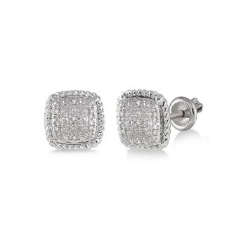 1/20ct tw Diamond Stud Earrings in Sterling Silver
