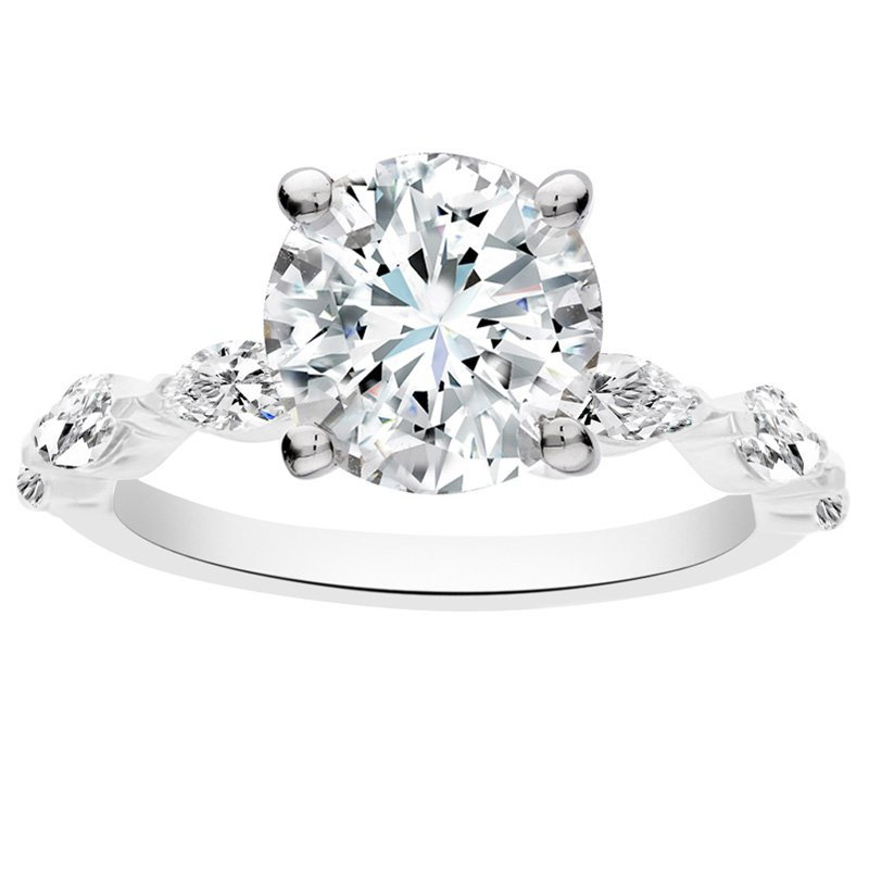 1/2ct tw NewBorn Lab Craeted Diamond Engagement Ring Setting in 14K White Gold