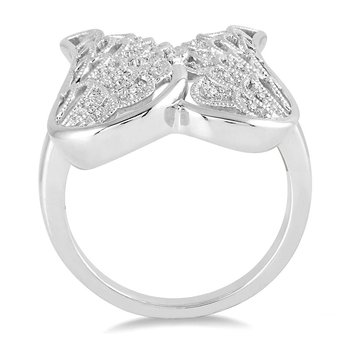 1/14ct tw Diamond Angel Wing Ring in Sterling Silver