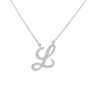 1/10ct tw NewBorn Lab Created Diamond Love Letter Necklace in Sterling Silver