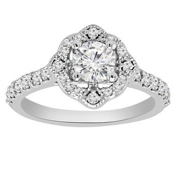 1/2ct tw NewBorn Lab Created Diamond Halo Engagement Ring Setting in 14K White Gold