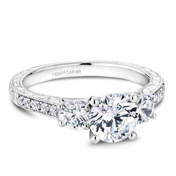 5/8ct tw Diamond Three Stone Engagement Ring Setting in 14K White Gold