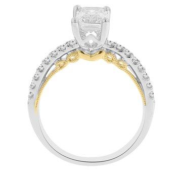 1/4ct tw Diamond Engagement Ring Setting in 14K White & Yellow Gold