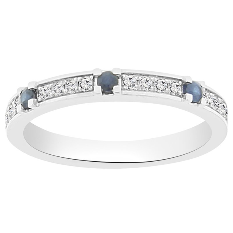 1/4ct tw Diamond & Blue Sapphire Stackable Ring in 14K White Gold