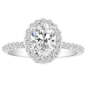 1 3/4ct tw NewBorn Lab Created Diamond Halo Engagement Ring in 14K White Gold