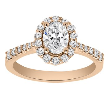 3/8ct tw NewBorn Lab Created Diamond Halo Engagement Ring Setting in 14K Rose Gold