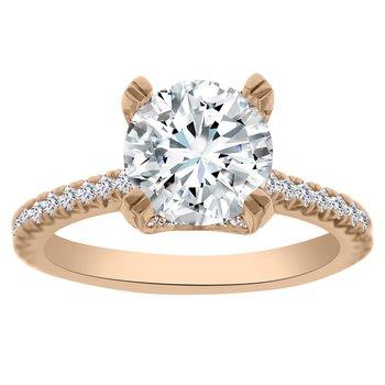 1/2ct tw Diamond Engagement Ring Setting in 14K Rose Gold