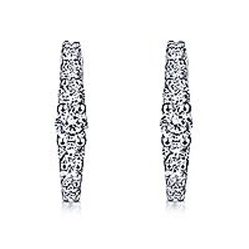 1/2ct tw Diamond Huggie Hoop Earrings in 14K White Gold