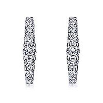 1/2ct tw Diamond Huggie Hoop Earrings in 14K White Gold