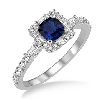 3/8ct tw Diamond & Blue Sapphire Halo Ring in 14K White Gold