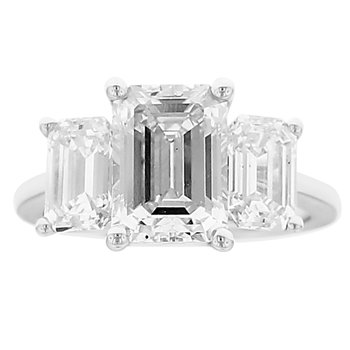 5 1/8ct tw NewBorn Lab Created Diamond Three Stone Engagement Ring in 14K White Gold