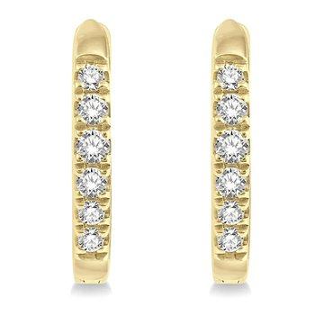 1/8ct tw Diamond Hoop Earrings in 10K Yellow GoldLadies 12mm diamond hoop earrings featuring 12 round cut diamonds in 10K yellow gold. 1/8 carat total diamond weight.