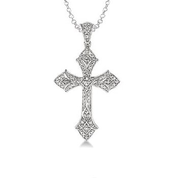.05ct tw Diamond Cross Necklace in Sterling SIlver