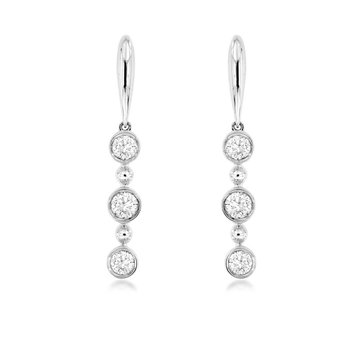 1/3ct tw Diamond Three Stone Bar Earrings in 14K White Gold