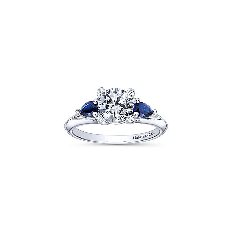 Blue Sapphire Engagement Ring Setting in 14K White Gold