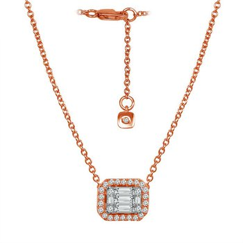 1/3ct tw Diamond East-West Halo Necklace in 14K White & Rose Gold