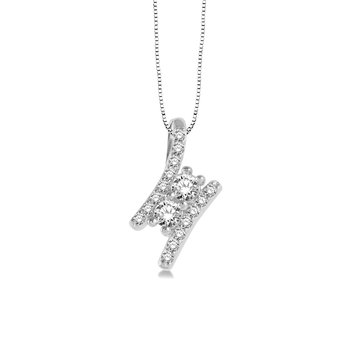 3/4ct tw Diamond Me & You Necklace in 14K White Gold