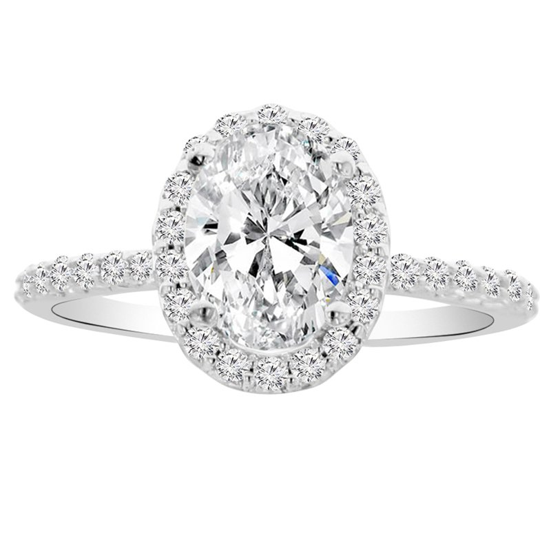 1 7/8ct tw NewBorn Lab Created Diamond Halo Engagement Ring in 14K White Gold