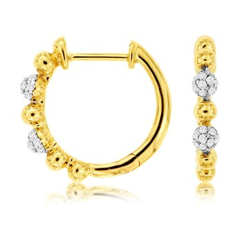 1/10ct tw Diamond Hoop Earrings in 14K White & Yellow Gold