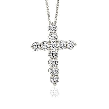 1/3ct tw Diamond Cross Necklace in Sterling Silver & Platinum