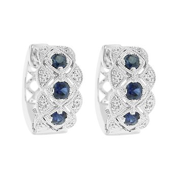 1/2ct tw Diamond & Blue Sapphire Hoop Earrings in 18K White Gold