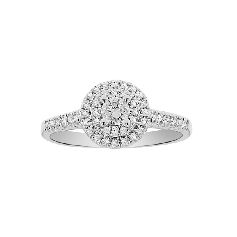 1/2ct tw Diamond Halo Engagement Ring in 18K White Gold