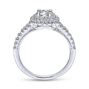 9/10ct tw Diamond Halo Engagement Ring in 14K White Gold