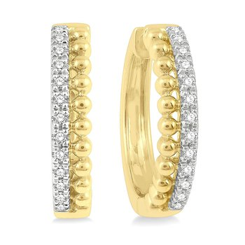 1/4ct tw Diamond Hoop Earrings in 14K Yellow Gold