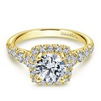 3/4ct tw Diamond Halo Engagement Ring in 14K Yellow Gold