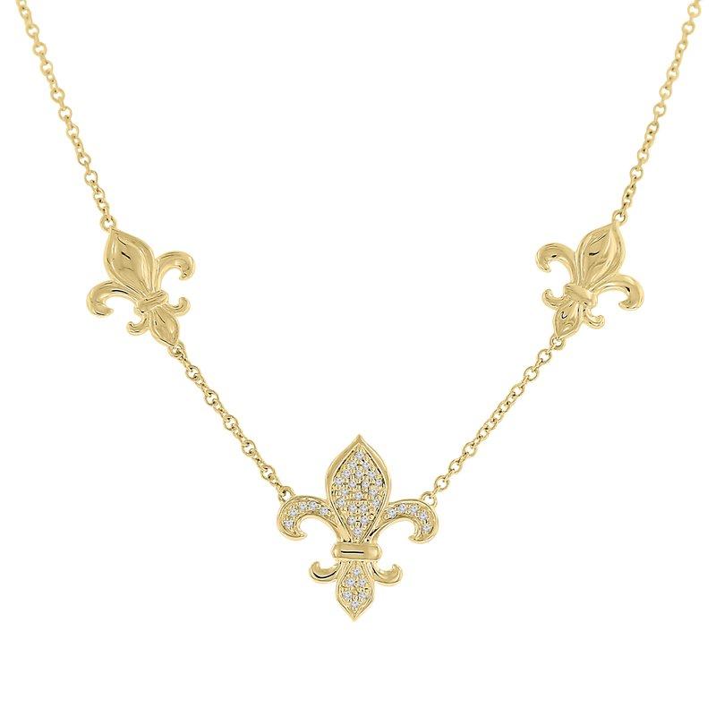 1/10ct tw Diamond Nola Collection Fleur De Lis Necklace in 10K Yellow Gold