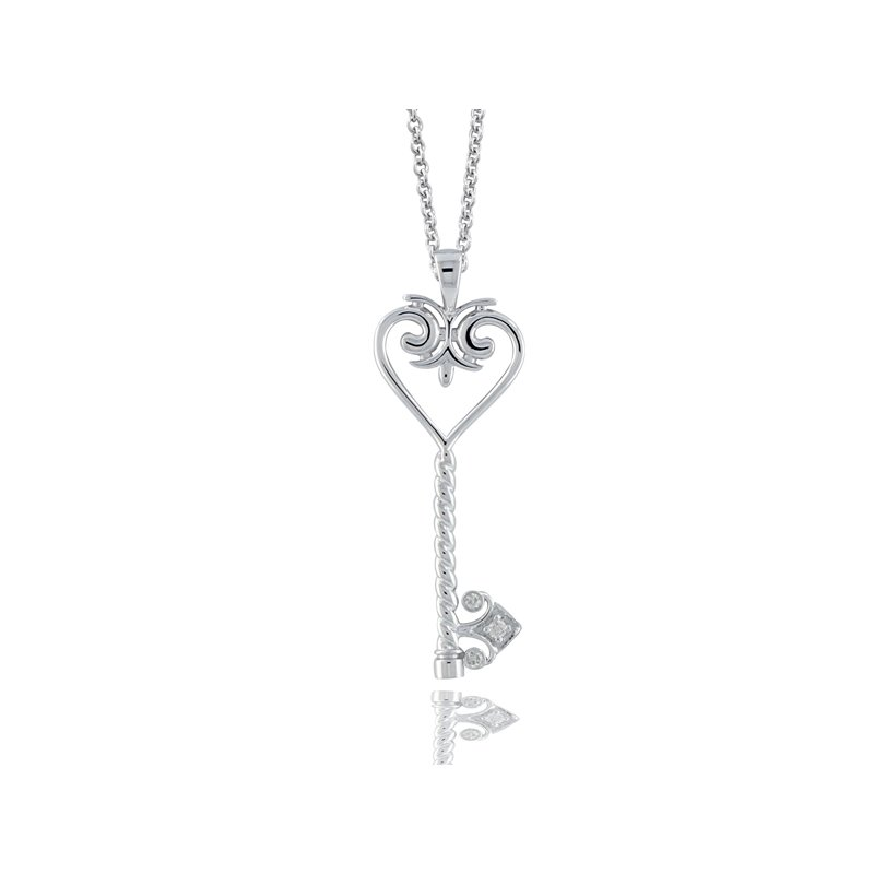 .06ct tw Diamond Heart Key Necklace in Sterling Silver