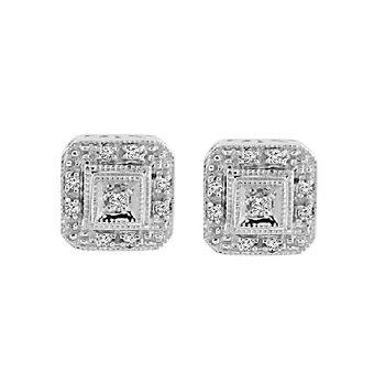 1/10ct tw Diamond Halo Earrings in 10K White Gold