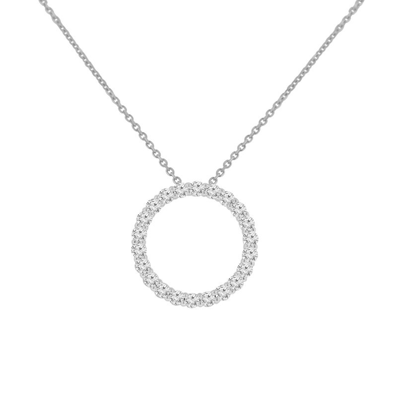 3/4ct tw NewBorn Lab Created Diamond Circle Necklace in 14K White Gold