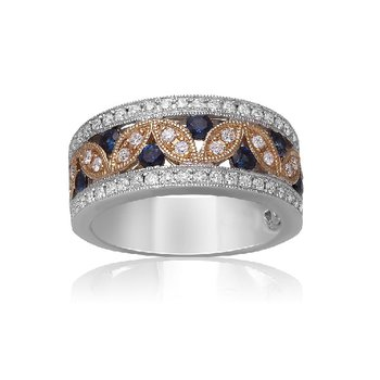9/10ct tw Diamond & Blue Sapphire Fashion Ring in 14K White & Yellow Gold