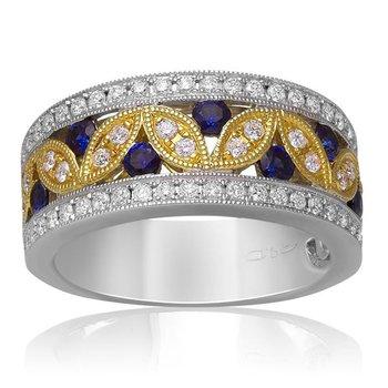 9/10ct tw Diamond & Blue Sapphire Fashion Ring in 14K White & Yellow Gold
