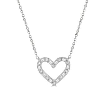 1/4ct tw Diamond Heart Necklace in 14K White Gold