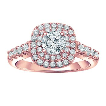 1ct tw Diamond WOW Halo Engagement Ring in 14K Rose Gold