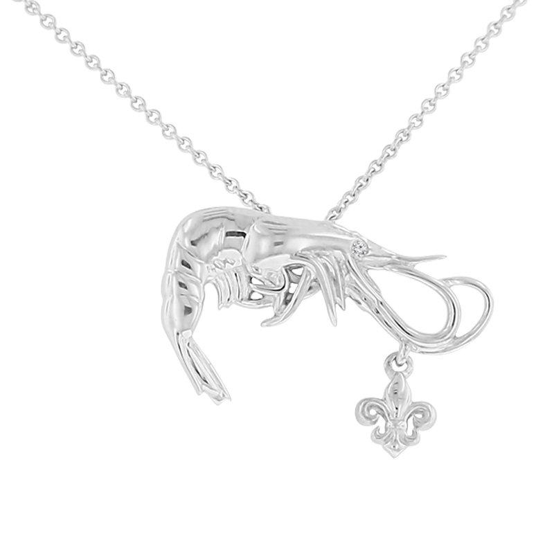 .005ct tw Diamond Nola Collection Shrimp & Fleur De Lis Necklace in Sterling Silver