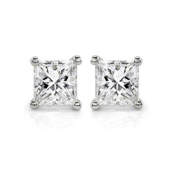 1 1/2ct tw Diamond Solitaire Stud Earrings in 14K White Gold