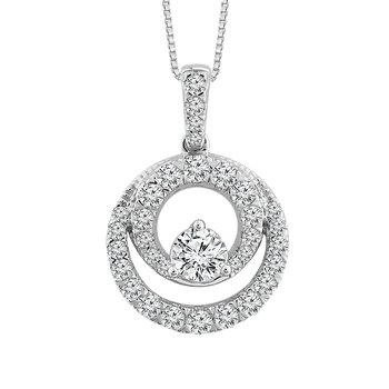 1ct tw Diamond Double Circle Necklace in 14K White Gold