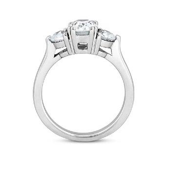 9/10ct tw Diamond Three Stone Engagement Ring in 14K White Gold