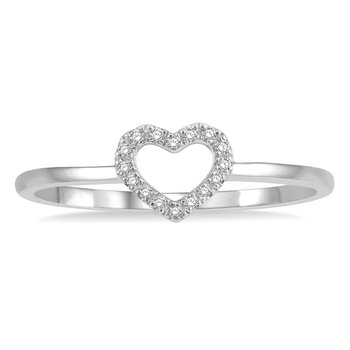 .05ct tw Diamond Heart Ring in 10K White Gold