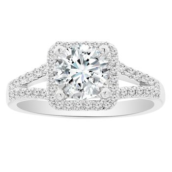 1 1/2ct tw Diamond Halo Engagement Ring in 18K White Gold