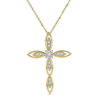 1/14ct tw Diamond Cross Necklace in 10K Yellow Gold